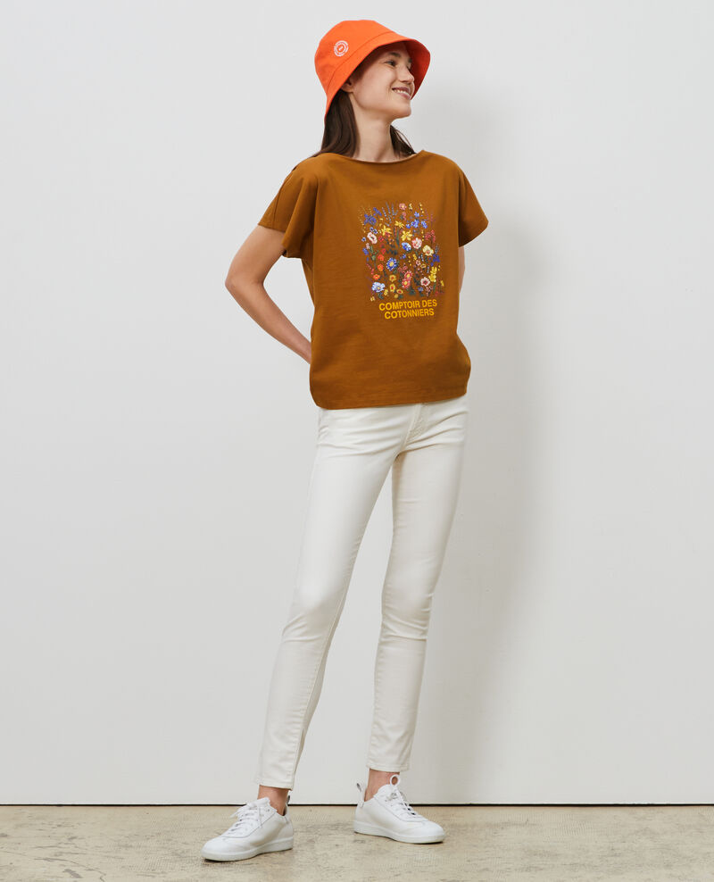 T-Shirt aus Baumwolle mit kurzen Ärmeln Bronze brown Marcelin