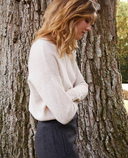 Pullover mit Knöpfen an den Ärmeln 100 % Kaschmir BUTTERCREAM
