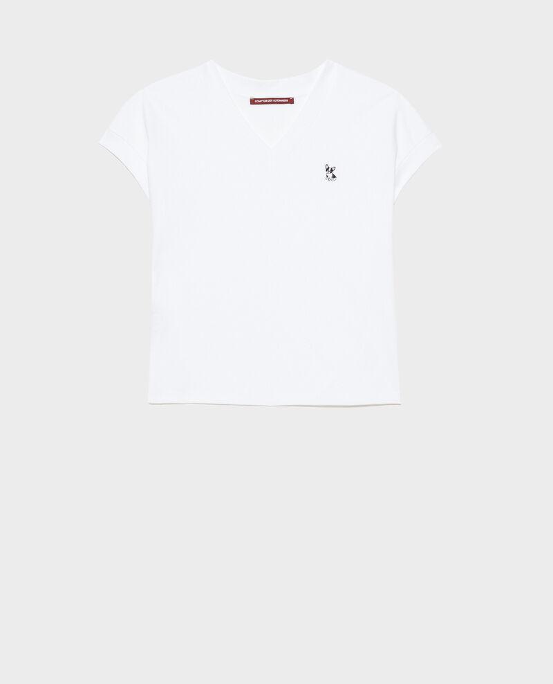 T-Shirt mit V-Ausschnitt aus Bio-Baumwolle Optical white Nohant