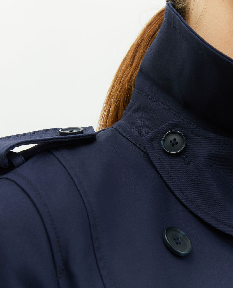 Mittellanger Trenchcoat aus Baumwolle mit Gürtel Night sky Mambert