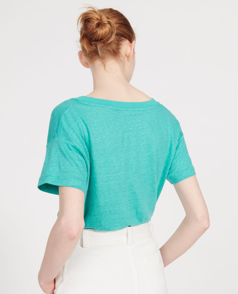 T-Shirt aus Leinen Bright aqua Locmelar