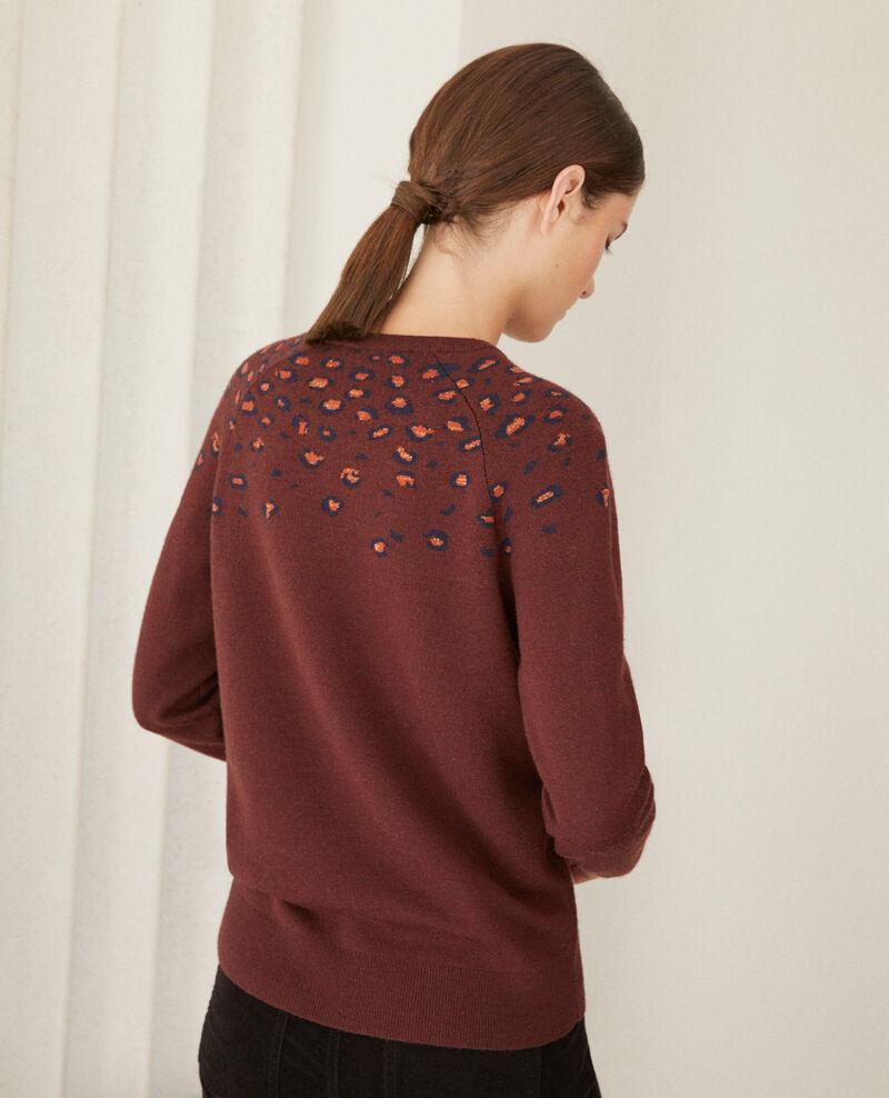 Pullover mit Druck Bl deep mahogamy Gleopard