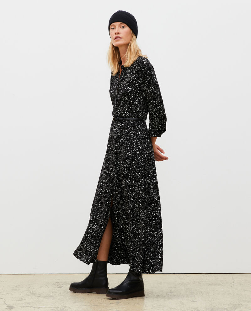 Langes gemustertes Maxi-Kleid Print constellation black Meursac