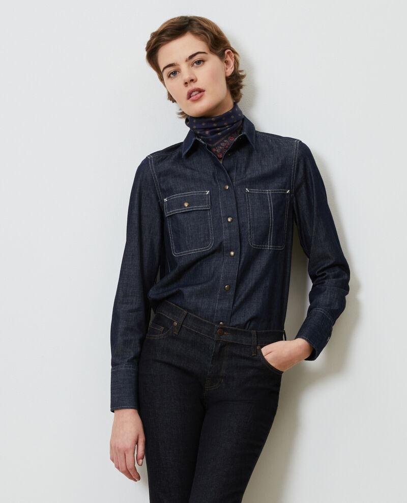 Jeanshemd mit asymmetrischen Taschen Denim brut Madigna