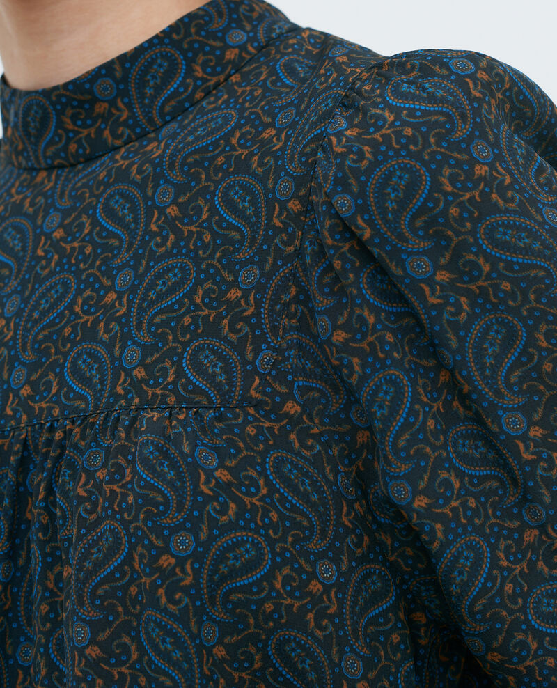 Gerafftes Oberteil aus Seide Paisley blue Palante