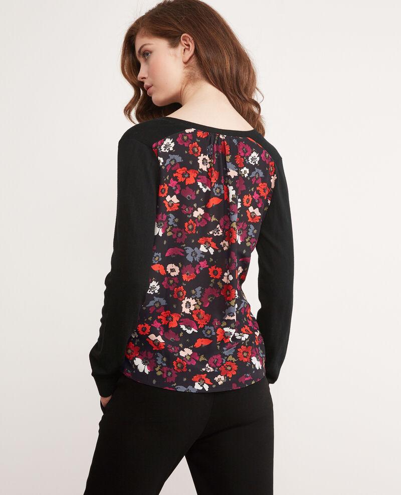 Pullover aus Bimaterial mit Rückenteil aus gemusterter Seide Poppies black Decibel