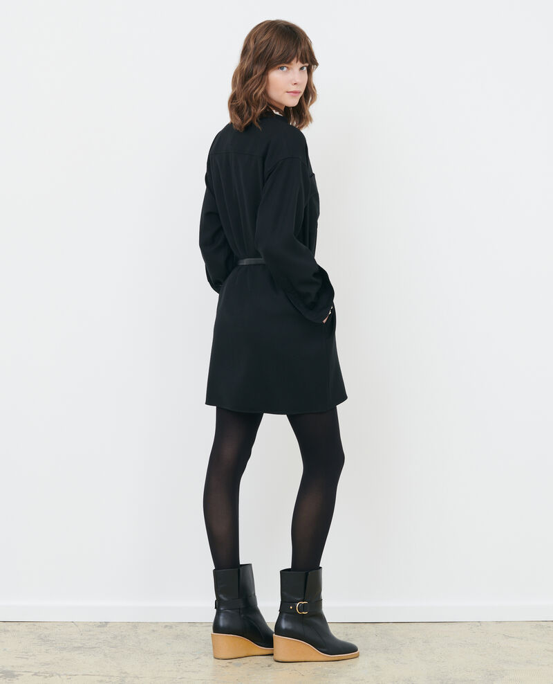 Kurzes Oversize-Hemdkleid Black beauty Paillarde