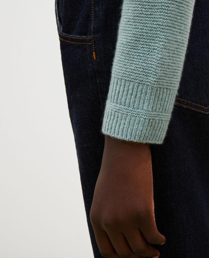 Ausgestellter 3D-Pullover aus Kaschmir mit Stehkragen Chinois green Manduel