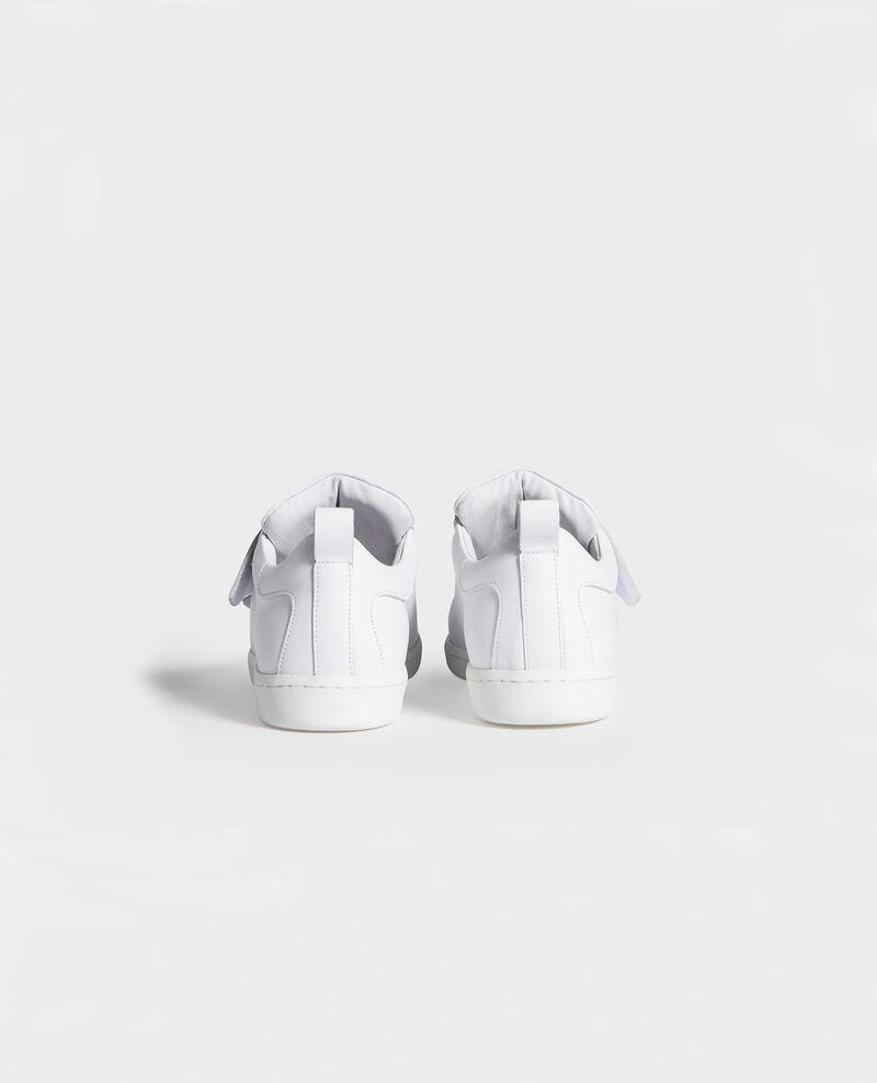Sneakers aus Leder mit Klettlaschen Optical white Leader