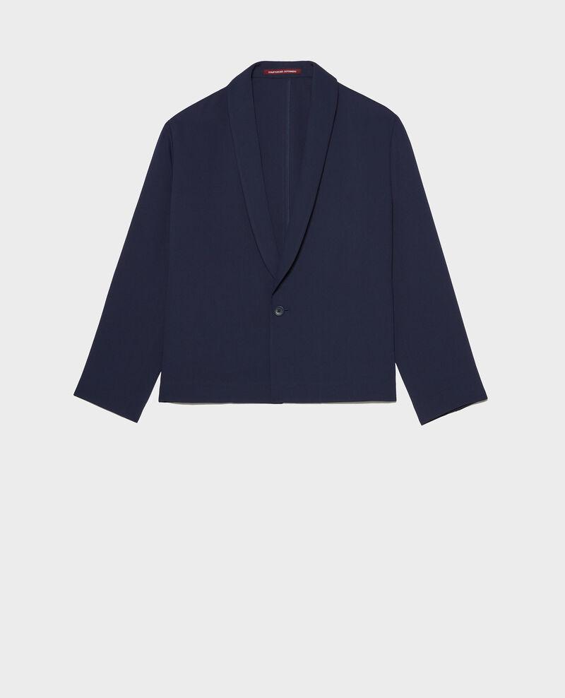 Smokingjacke aus fließendem Polyester Maritime blue Levibal