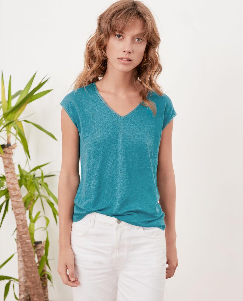 T-Shirt aus Leinen Pacific green Fevian