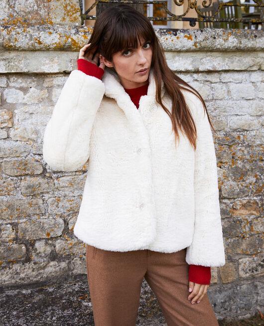 Kurzer Mantel aus Pelzimitat OFF WHITE