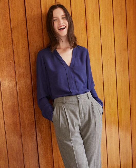 Bluse mit V-Ausschnitt MEDIEVAL BLUE