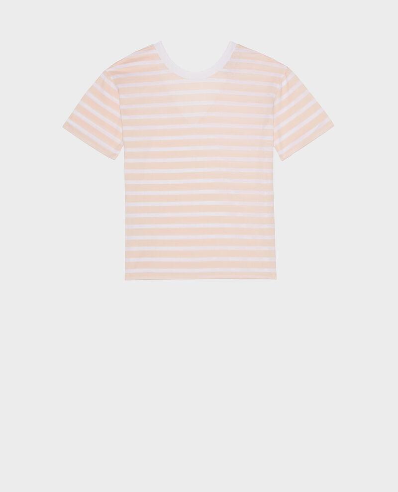 T-Shirt aus ägyptischer Baumwolle Stripes primrose pink optical white Lisou