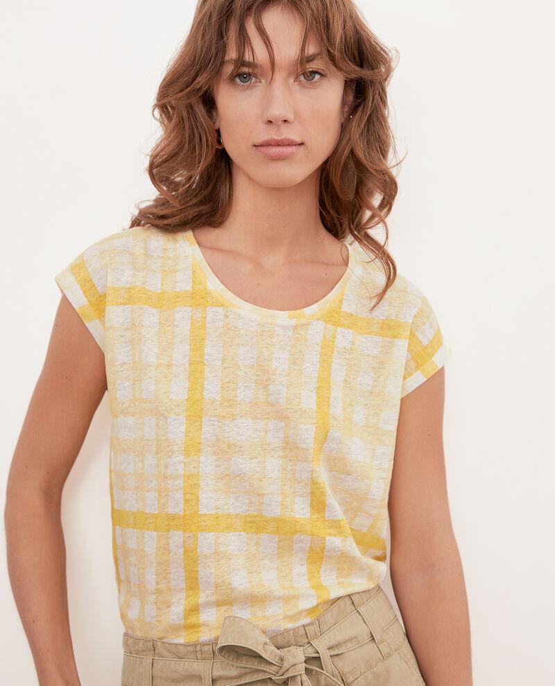 Bedrucktes T-Shirt aus Leinen Ghingham big lemon Fengshui