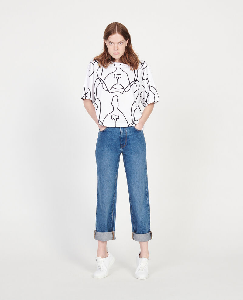 T-Shirt mit Léon-Print aus Baumwolle Optical white Lacauchie