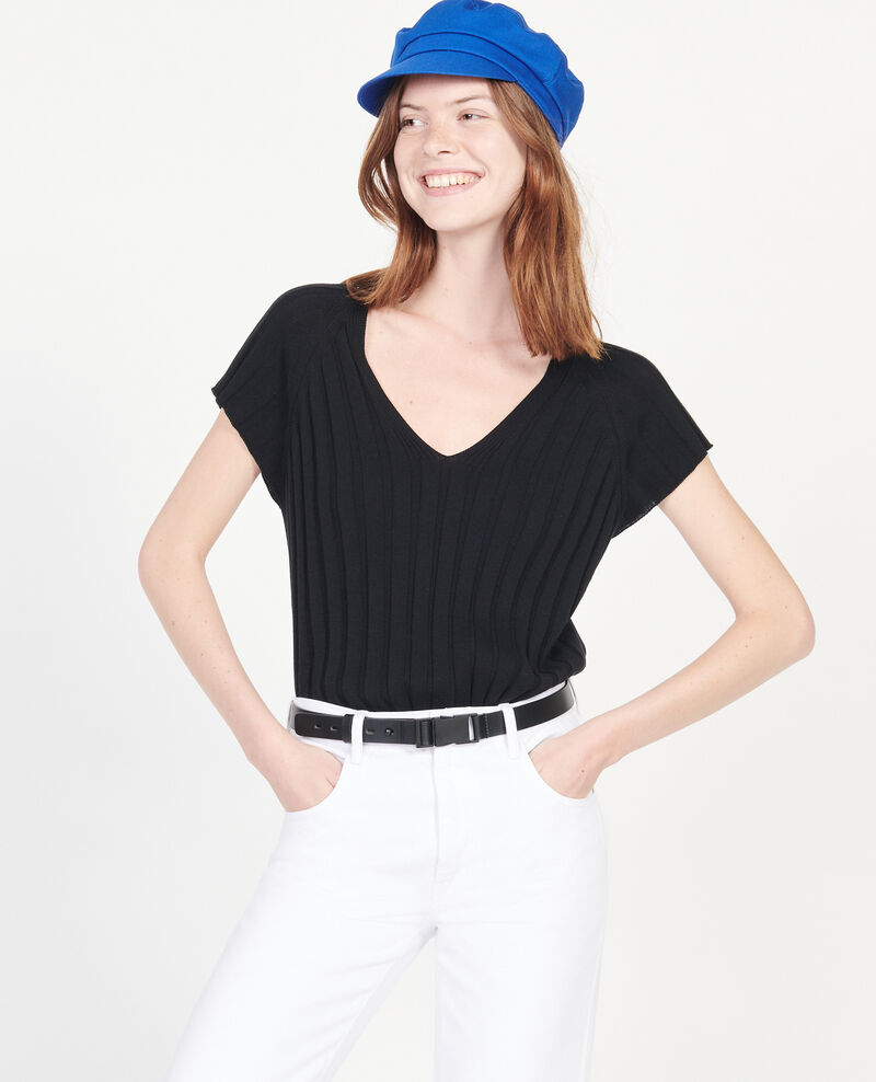 Pullover mit breitem Rippstrick Black beauty Loupy