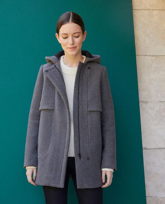 Mantel mit Kapuze  Grau
