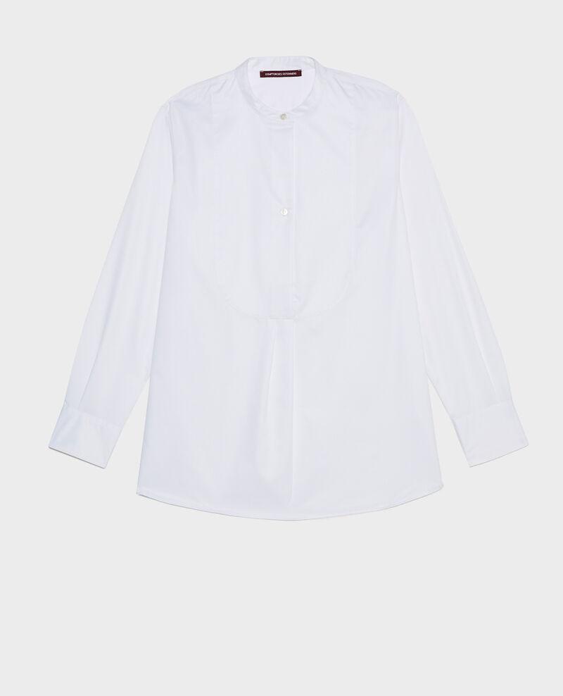 Oversize Baumwollhemd mit Brusteinsatz Brilliant white Mime