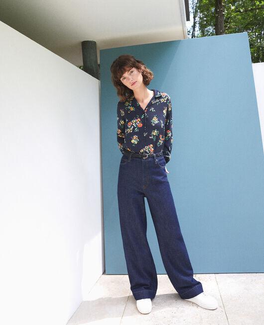 Bluse mit Pyjamakragen FLEURS NAVY