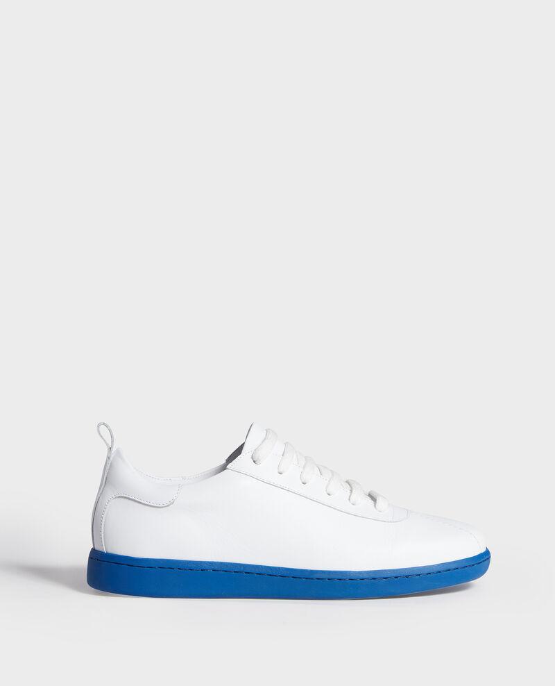 Ledersneaker mit Schnürsenkeln White princess blue Lead