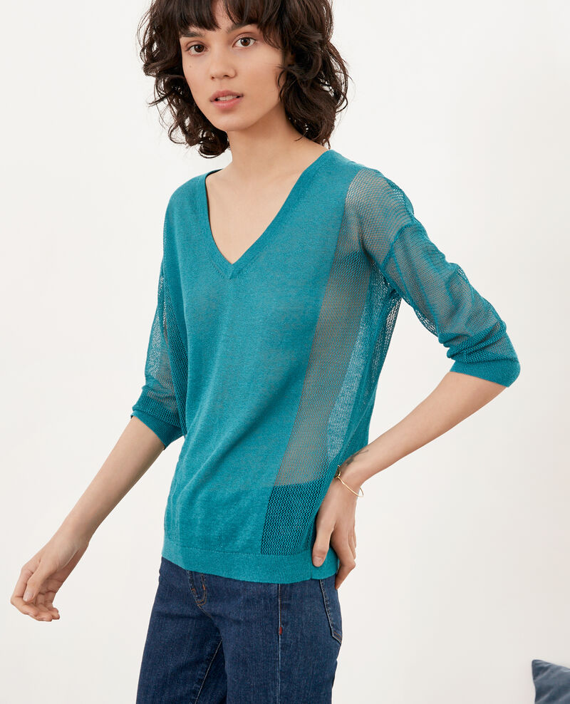 Pullover mit Ajourmusterdetails Pacific green Fugees
