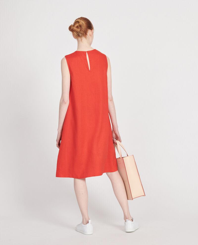 Kleid aus 100 % Leinen Fiery red Lux