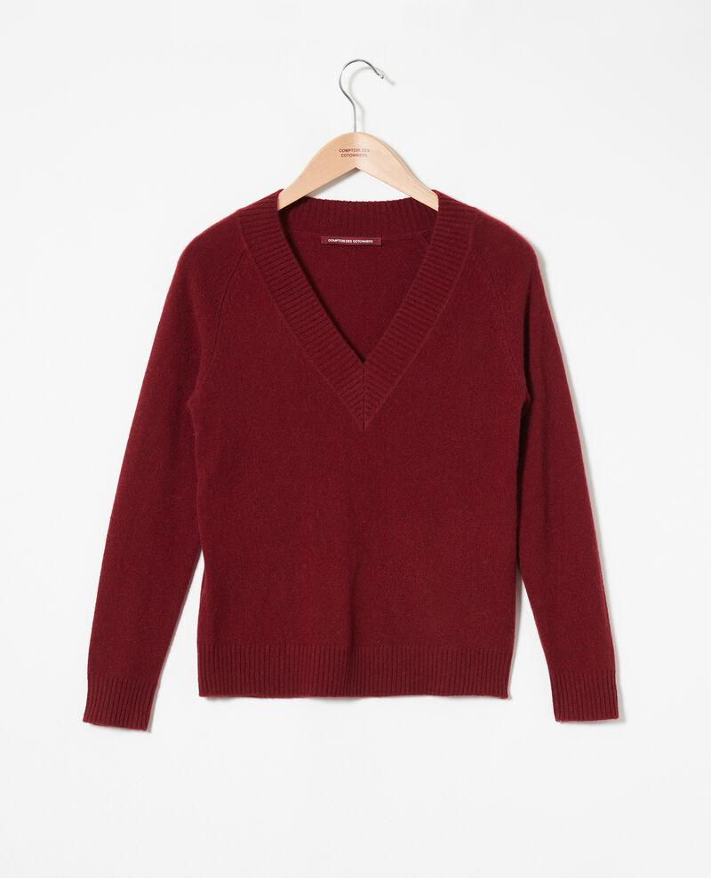 Pullover mit V-Ausschnitt mit breitem Rippstrick 100 % Kaschmir Cabernet Jaye