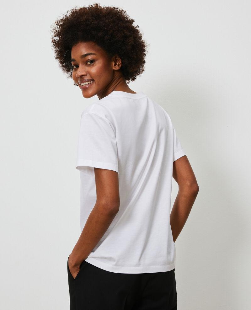 Besticktes T-Shirt aus Baumwolle Optical white Nagaoka