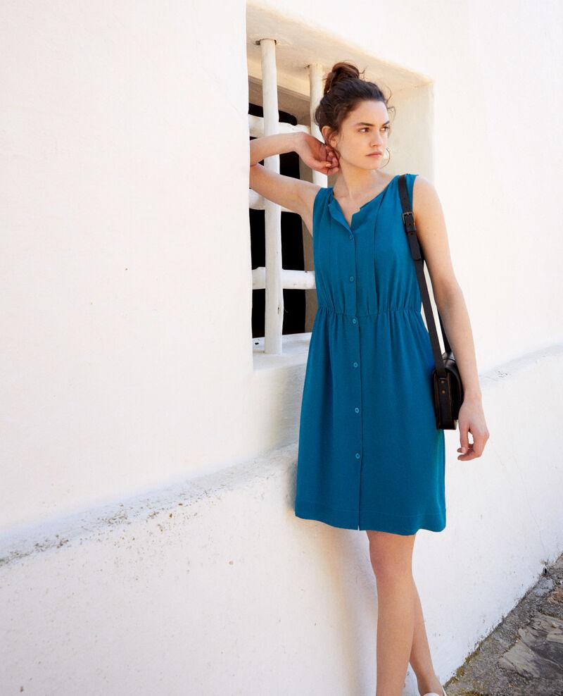 Ärmelloses Kleid aus Seide Turquoise Ilena