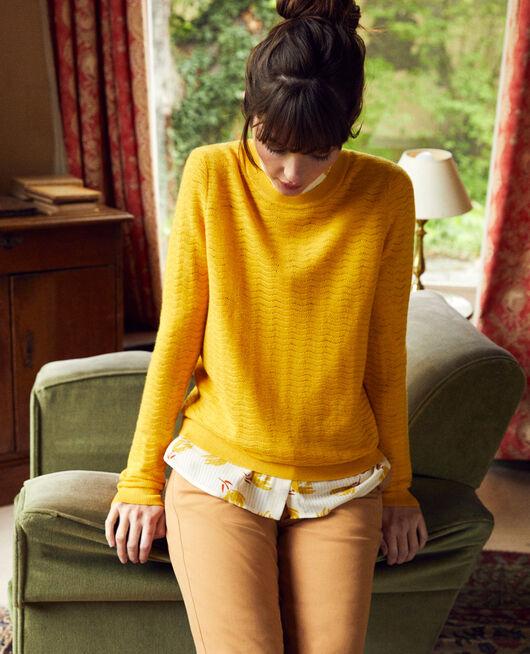 Pullover aus Zierstrick 100% Merinowolle SPICY MUSTARD