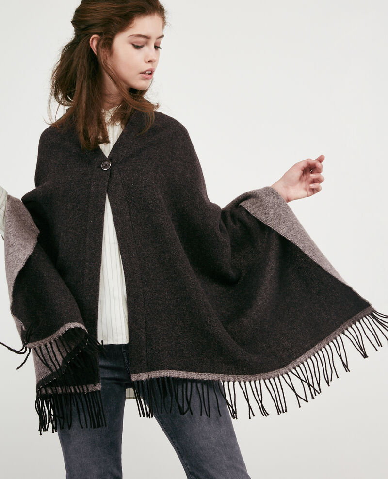 Cardigan-Stola mit Wolle Anthracite Double