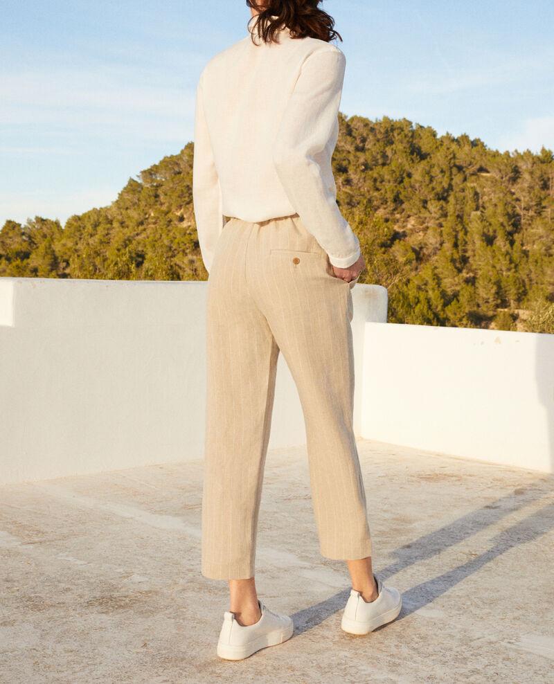 Pantalon coupe carotte Natural linen/off white Iphon