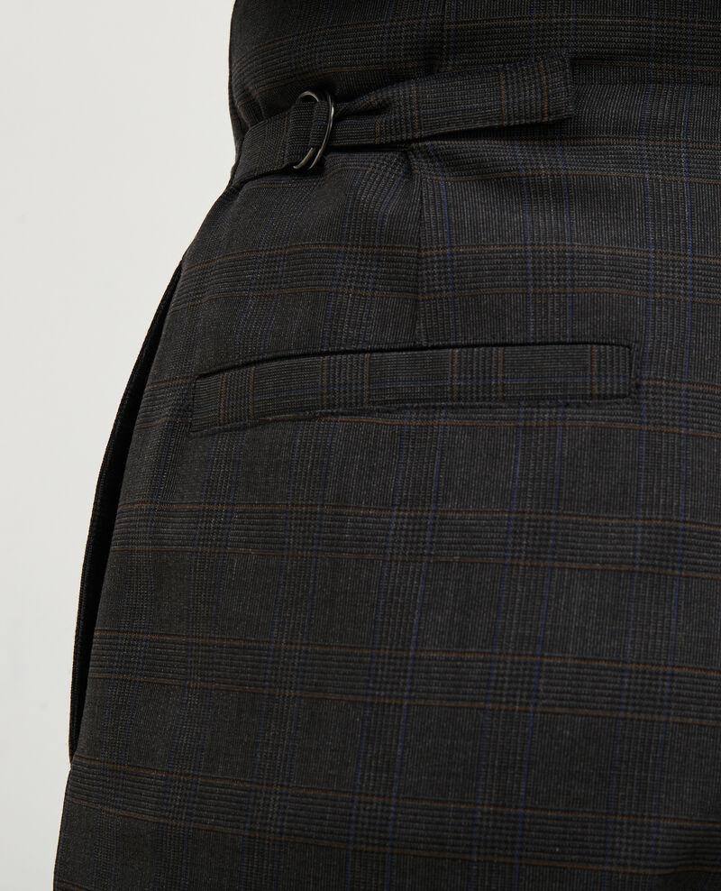 Faltenhose, kurz, gefesselt, aus Prince of Wales-Wolle Check-wool-pattern-tailoring Mirboz