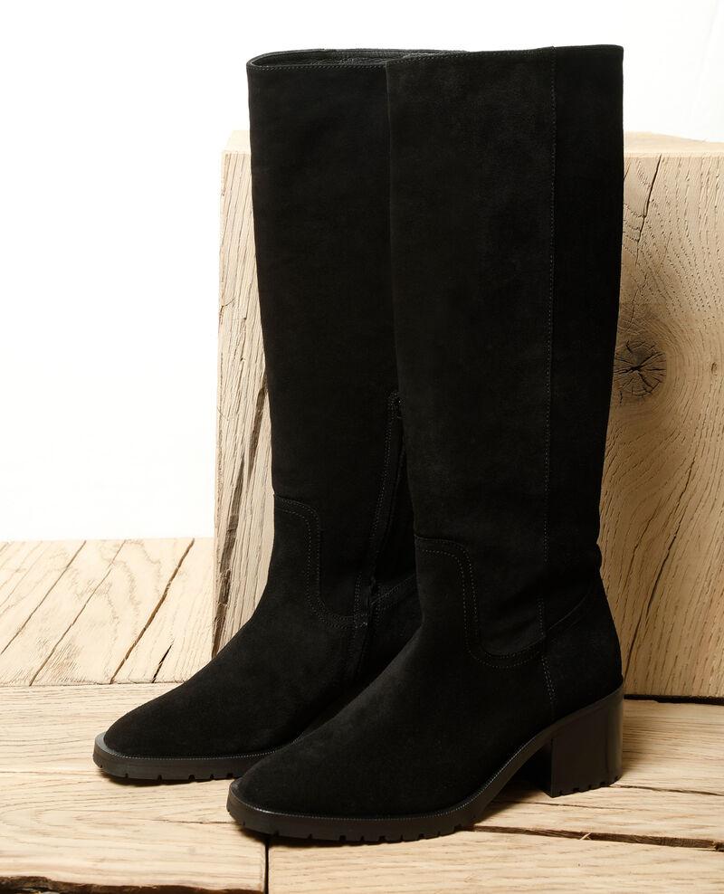 Stiefel aus Veloursleder Schwarz Ganasho