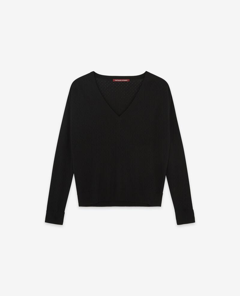 Pullover aus Merinowolle mit Lochstickerei Noir Darago