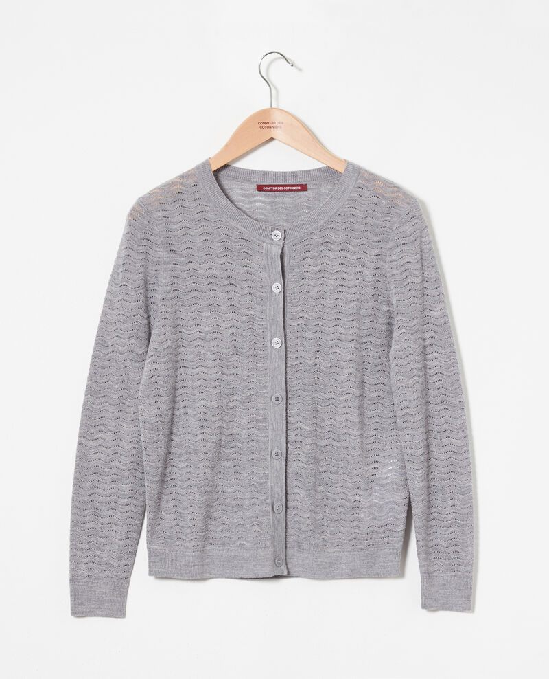 Woll-Cardigan aus Zierstrick 100% Merinowolle Medium grey Jemuel
