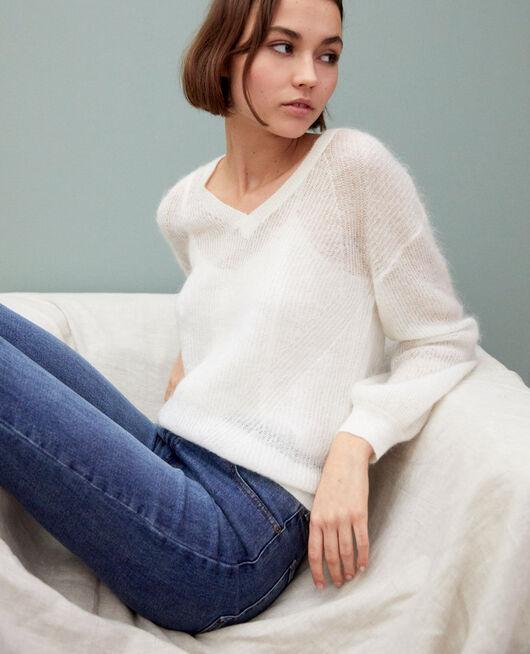 Pullover mit V-Ausschnitt mit Mohair OFF WHITE