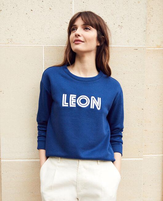 Sweatshirt mit Leon-Stickerei DK INDIGO/OW