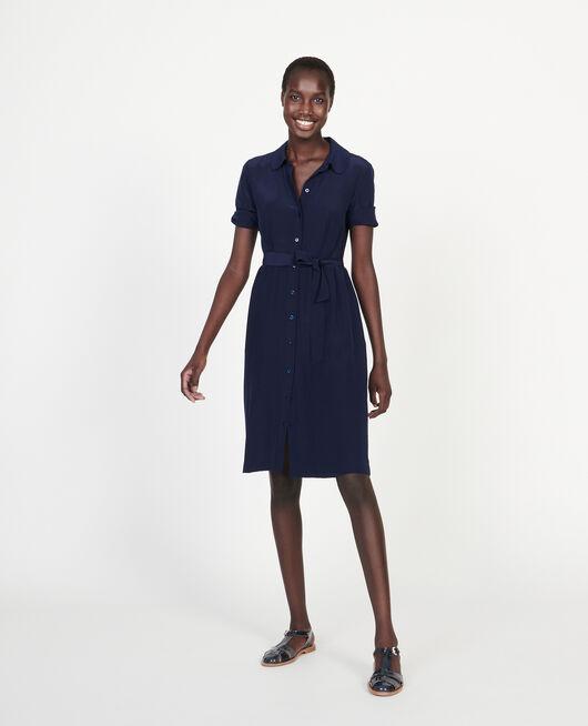 Fließendes, mittellanges Kleid MARITIME BLUE