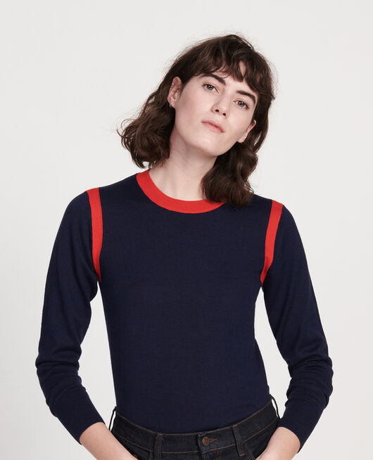 Pullover mit Seideund Kaschmir STRIPES MARITIME BLUE FIERY RED