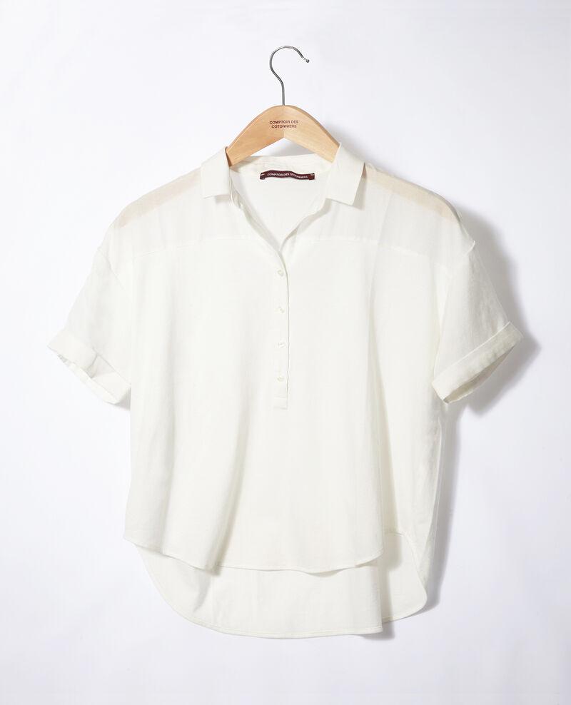 Bimaterial-Bluse Weiß Gaite