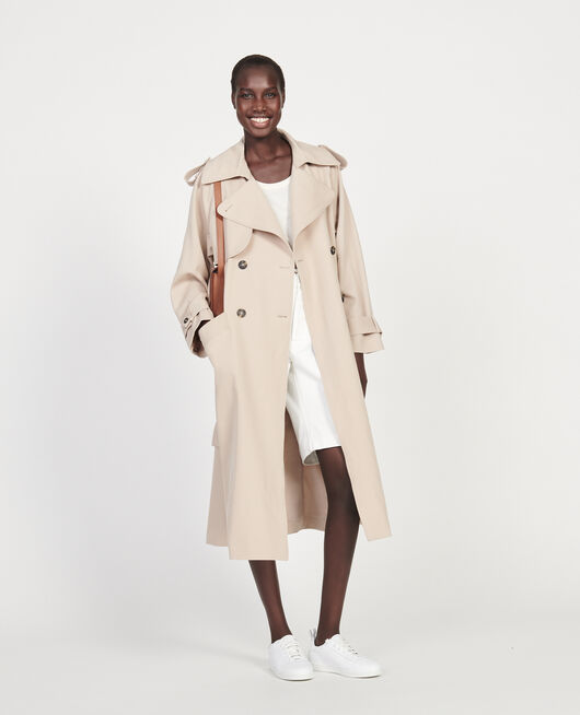 Oversize-Trenchcoat aus fließender Wolle OXFORD TAN