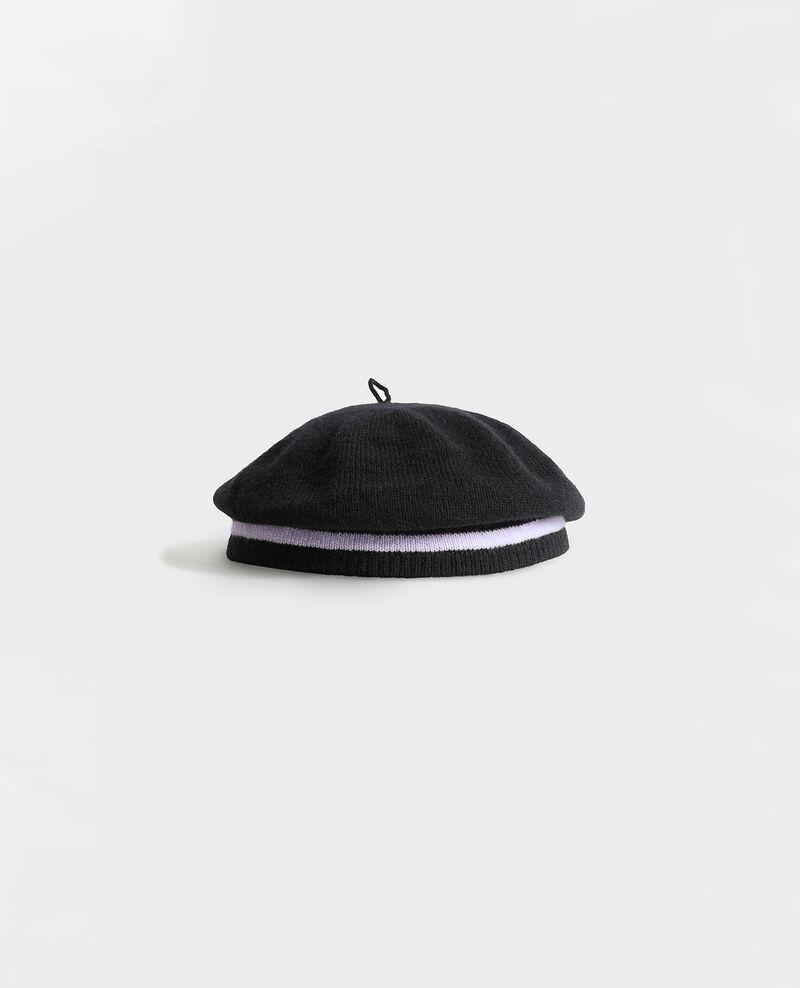 Barett aus Kaschmir Stripe black lilac Mions