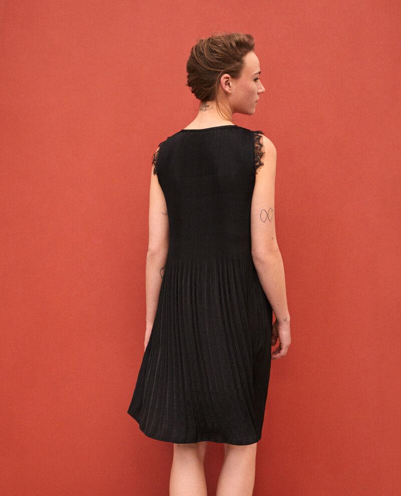 Plissee-Kleid mit Spitze Schwarz Garla