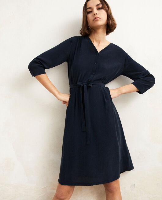 Kleid mit Midi-Länge mit Seide Bleu marine