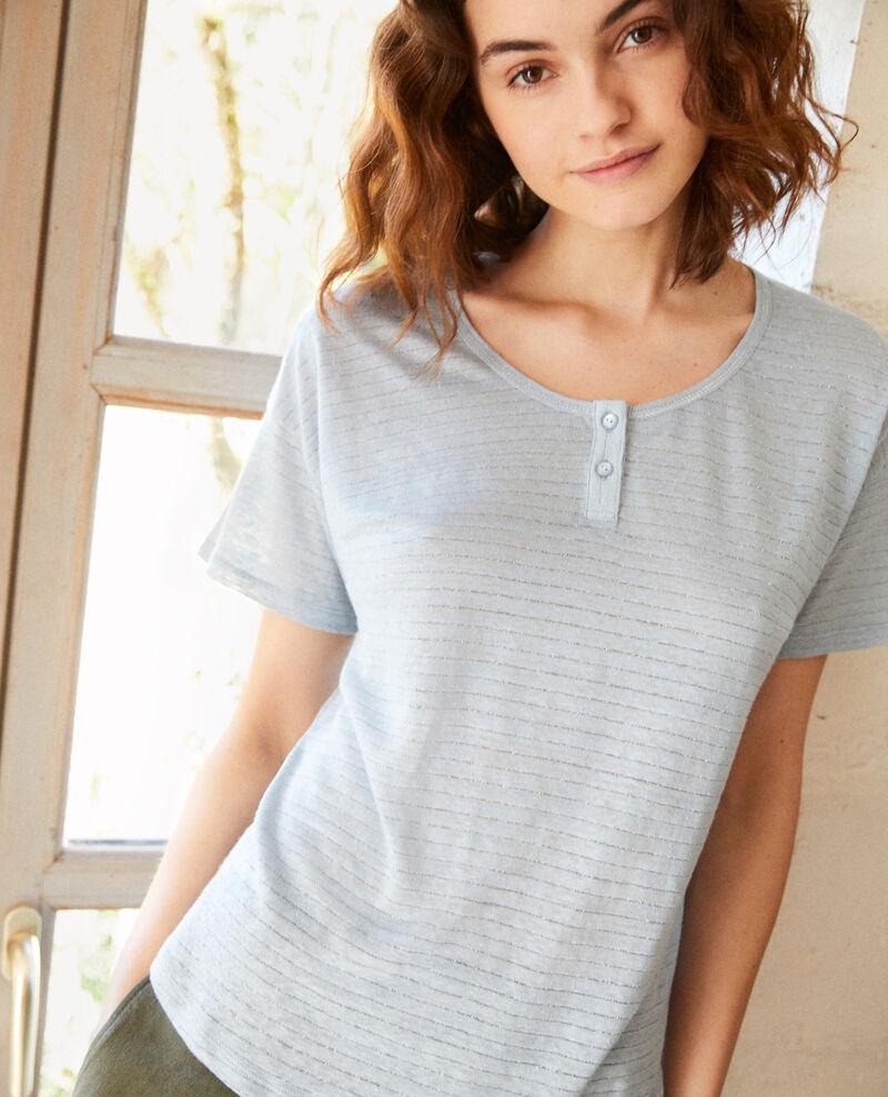 Glänzendes T-Shirt mit Leinen Light blue Imape