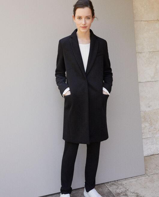 Mantel mit Reverskragen Schwarz