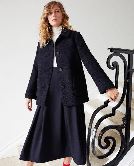 Mantel aus Walkwolle NAVY