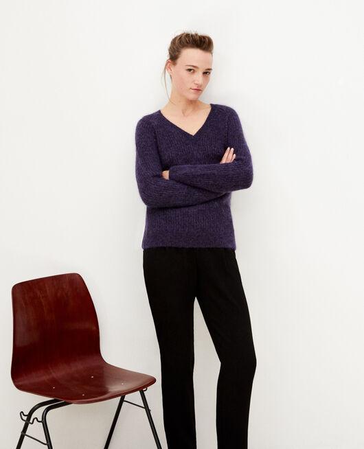 Pullover mit Mohair und Lurex Violett